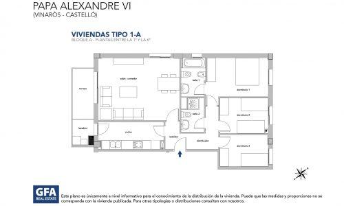 Plano vivienda obra nueva vinaroz tipo 1-A